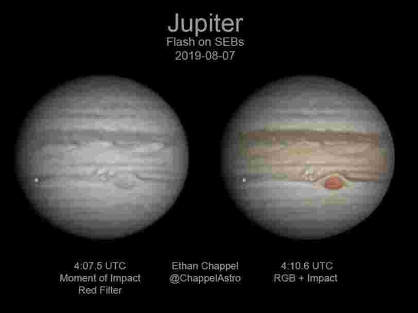Un astronome amateur a accidentellement enregistré un flash rare sur Jupiter