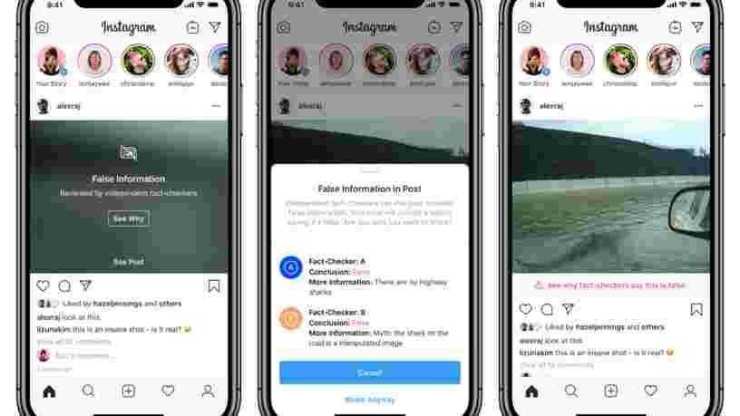 Facebook étend son dispositif de lutte contre les fake news à Instagram, sauf pour les contenus des politiques
