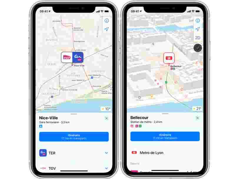 L'appli Plans d'Apple indique maintenant les trajets en transports en commun dans de nombreuses villes de France