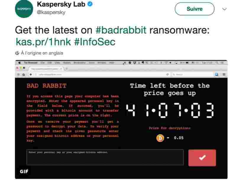 Un ransomware appelé 'BadRabbit' se propage en Russie, Ukraine, Turquie et Allemagne