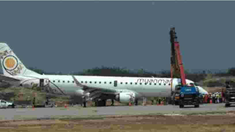 Une vidéo montre l'atterrissage d'urgence d'un avion sans train avant en Birmanie