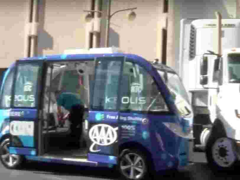 Cet accident d'une navette autonome française à Las Vegas rappelle tous les obstacles à franchir avant que la voiture sans chauffeur soit omniprésente