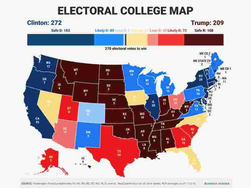 L'écart se resserre entre Hillary Clinton et Donald Trump — le pronostic de Business Insider avant la présidentielle américaine