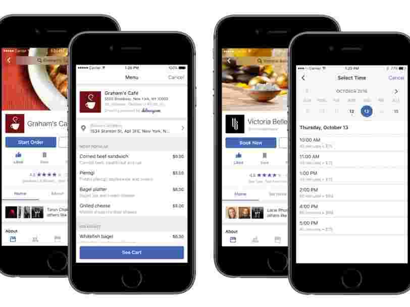 Facebook lance un concurrent de Yelp qui permet de commander à manger sans sortir de l'appli