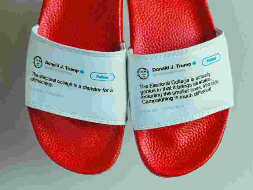 Un Américain a fabriqué des claquettes à partir de tweets contradictoires de Donald Trump — et il a vendu tout son stock en moins d'un mois