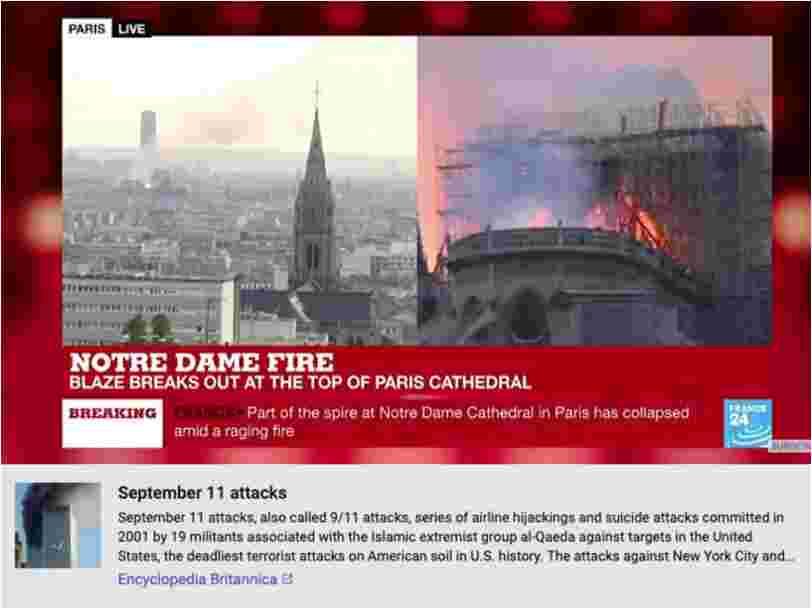 YouTube affiche par erreur des informations sur le 11 septembre sous les vidéos de Notre-Dame en feu