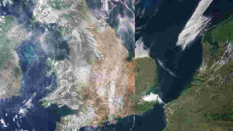 D'impressionnantes images satellite de l'Europe montrent comment la canicule a brûlé des pays entiers cet été