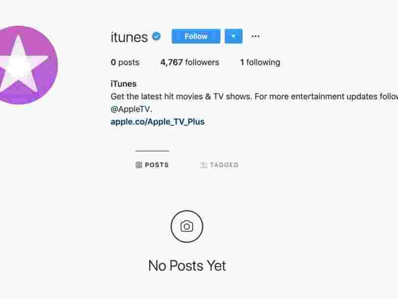 Apple a vidé les comptes Facebook et Instagram d'iTunes, qui devrait être bientôt abandonné