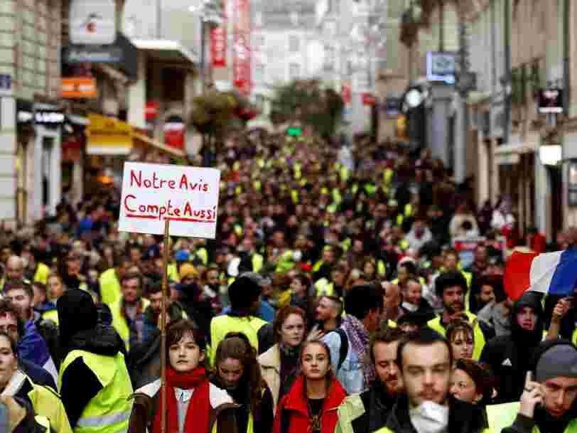Le mouvement des 'Gilets jaunes' ralentit l'activité du secteur privé — et ça pourrait contrecarrer la politique d'Emmanuel Macron sur 2 sujets