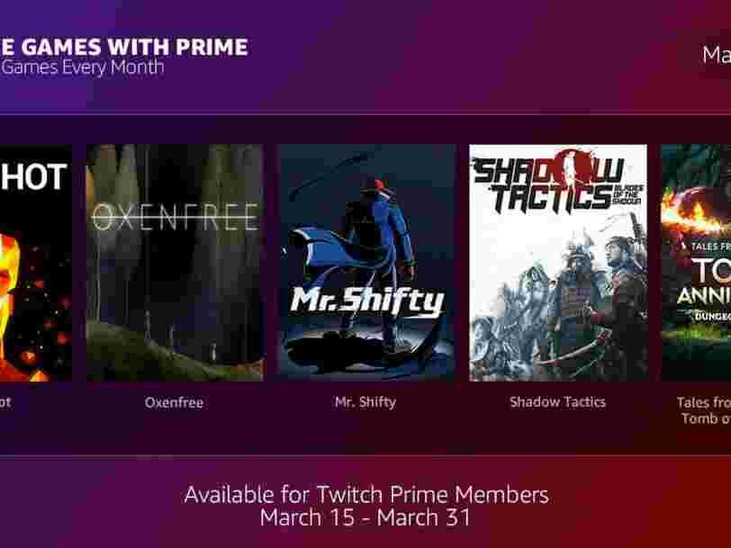 Amazon et Twitch offrent des jeux gratuits aux membres d'Amazon Prime chaque mois