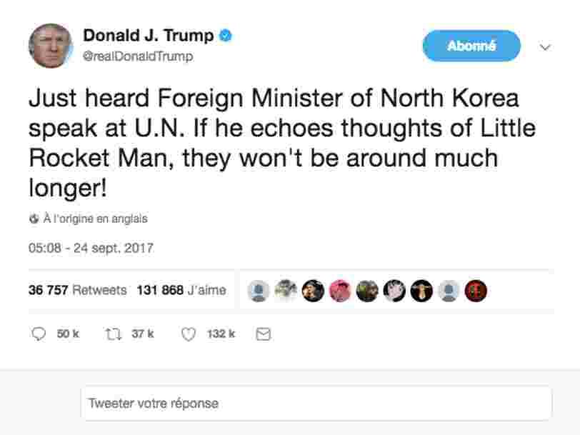 La Corée du Nord considère un tweet de Donald Trump comme une déclaration de guerre — Twitter doit expliquer pourquoi il ne le supprime pas