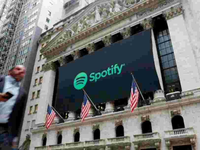 Spotify glisse en Bourse après une introduction sur une valorisation de 30Mds$
