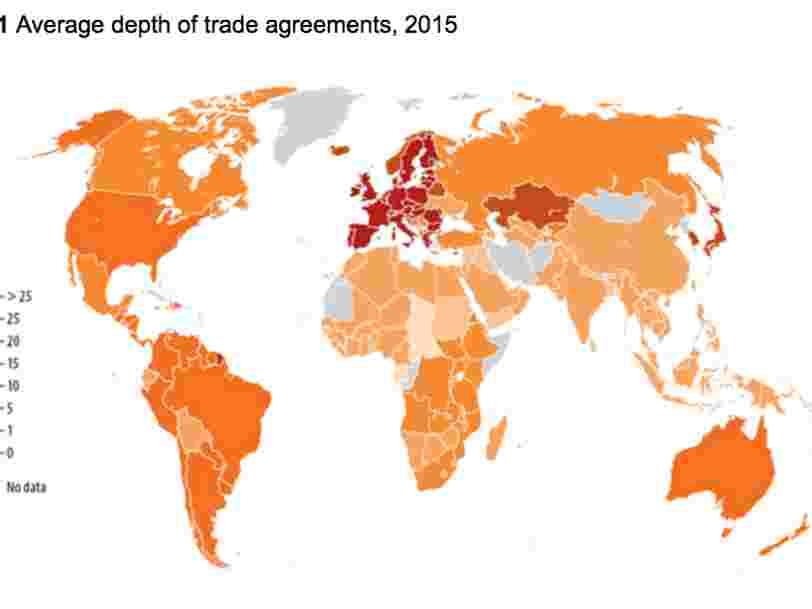 Cette carte montre le poids des relations commerciales dans le monde