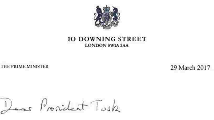 BREXIT: Voici la lettre de Theresa May au président du Conseil européen Donald Tusk enclenchant la sortie de l'UE