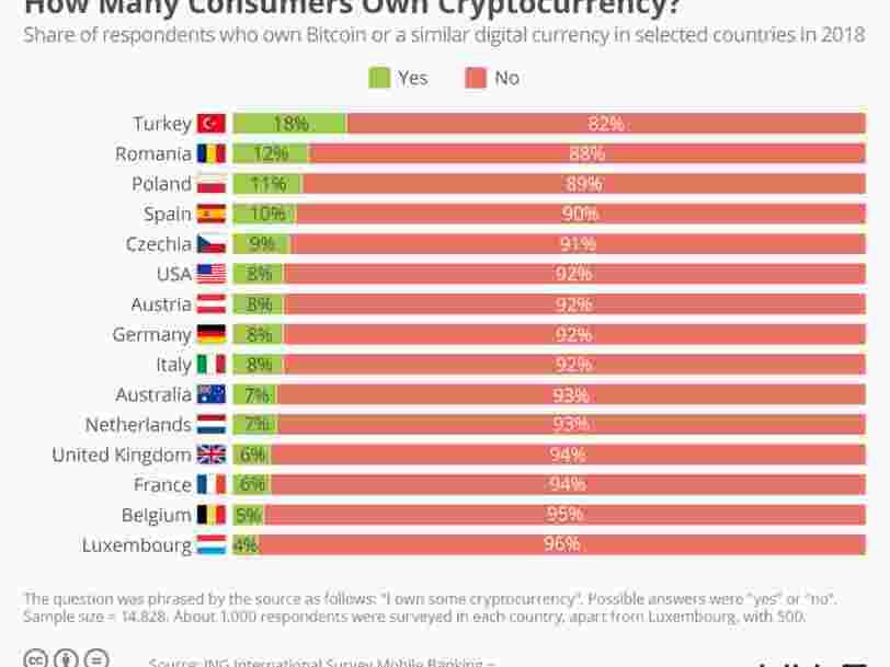 GRAPHIQUE DU JOUR: Les Turcs sont beaucoup plus friands de crypto-monnaies que les Français