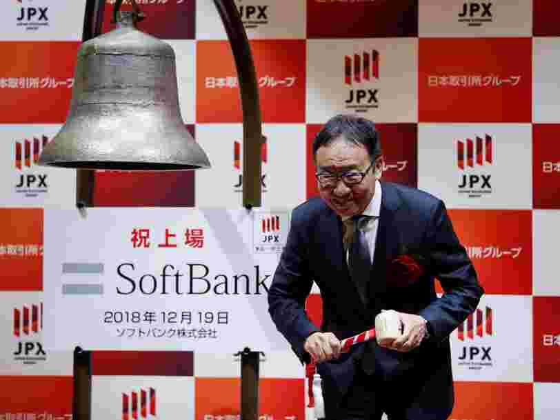 La filiale téléphonie mobile du japonais SoftBank chute pour son premier jour en Bourse, malgré une levée de fonds de 23,5 Mds$