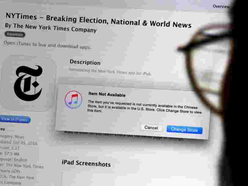 Apple a retiré l'appli du New York Times de l'App Store à la demande du gouvernement chinois