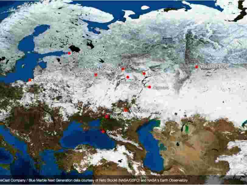 Des images satellites révèlent à quoi ressemblent les stades de la Coupe du monde de foot en Russie depuis l'espace