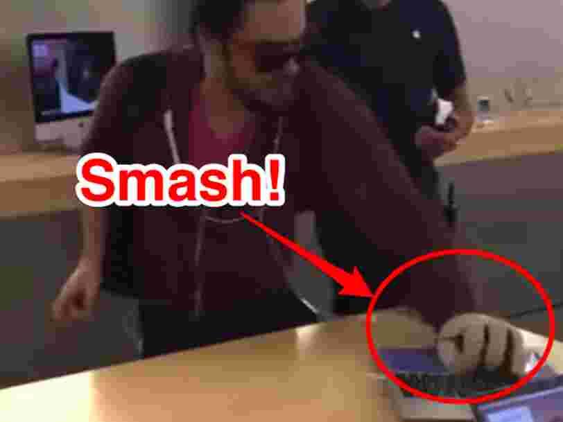 Un homme a disjoncté dans un Apple Store français et anéanti des iPhones avec une boule de pétanque