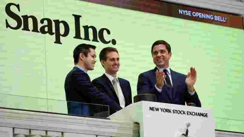 Snap grimpe dans les premiers échanges en Bourse après une IPO qui fait de ses jeunes fondateurs des multimilliardaires