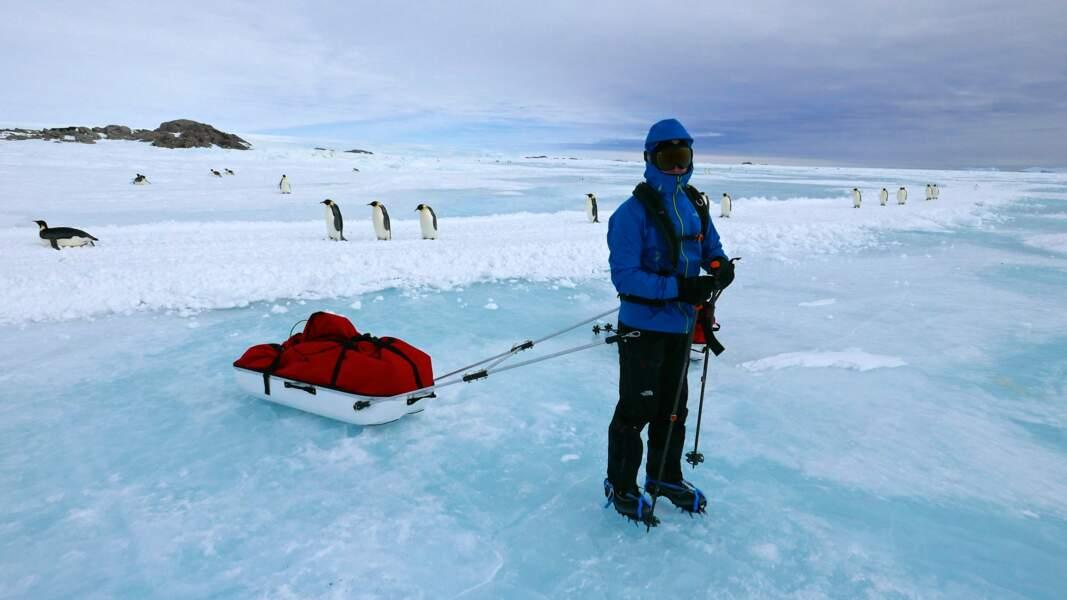 L'équipe traîne son matériel sur la glace à l'aide d'une pulka