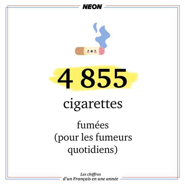 4 855 cigarettes fumées (chez les fumeurs quotidiens)