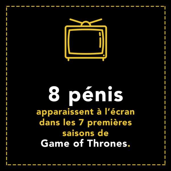 8 pénis apparaissent à l'écran dans les 7 premières saisons de Game of Thrones