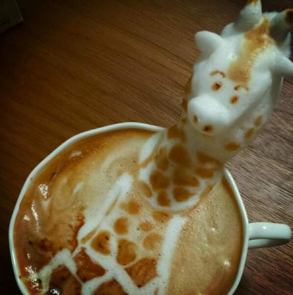 Bah ouais, une girafe en café, easy