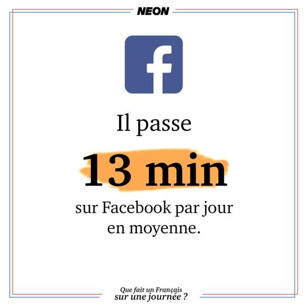 Quasi un quart d'heure sur Facebook par jour.