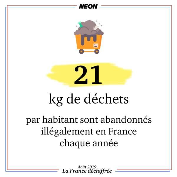 21 kg de déchets par habitant sont abandonnés illégalement en France chaque année