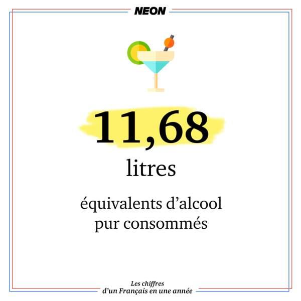 11,68 litres équivalents d'alcool pur consommés