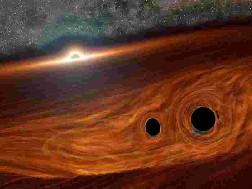 Les trous noirs peuvent produire de la lumière en se heurtant, et la première 'éruption' d'une fusion spatio-temporelle vient d'être détectée
