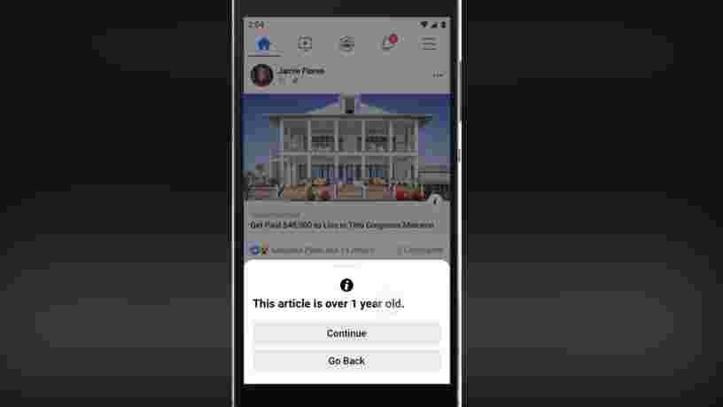 Facebook va désormais vous avertir lorsque vous partagez un article publié il y a plus de 3 mois