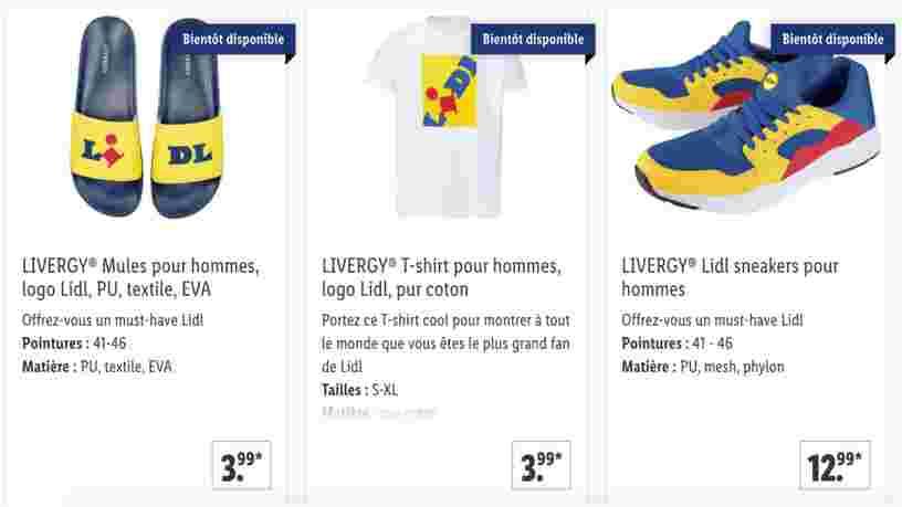 Lidl met en vente des sneakers, des t-shirts et des claquettes à son effigie