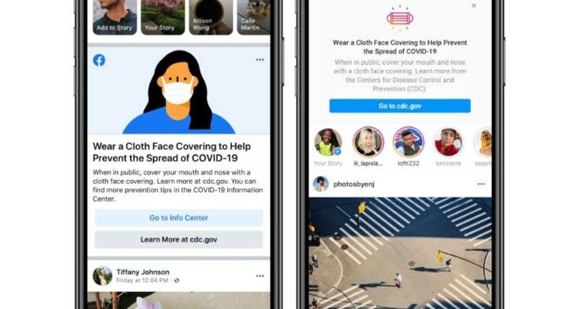 Une alerte sur Facebook et Instagram va inciter les gens à porter un masque en public