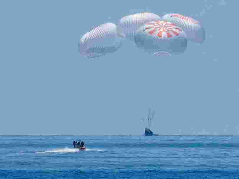 SpaceX a fait revenir sur Terre, avec succès, deux astronautes de la NASA à bord de son Crew Dragon