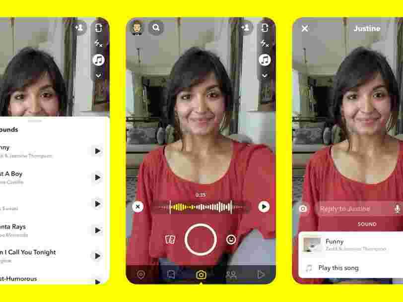 Snapchat lance une fonctionnalité pour ajouter de la musique sur les vidéos, à la manière de TikTok
