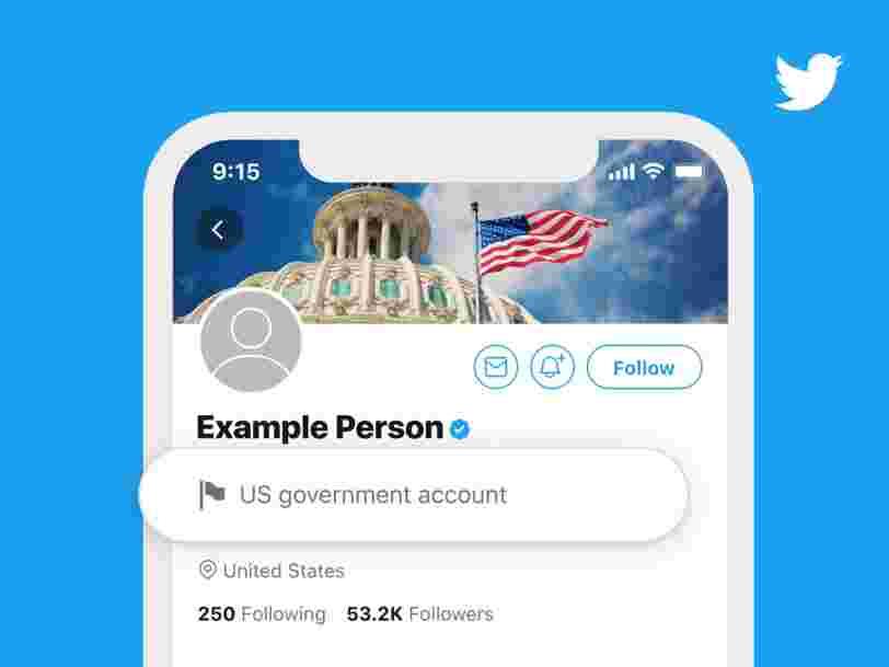 Twitter vous prévient si un profil appartient à un compte gouvernemental ou à un média contrôlé par un État
