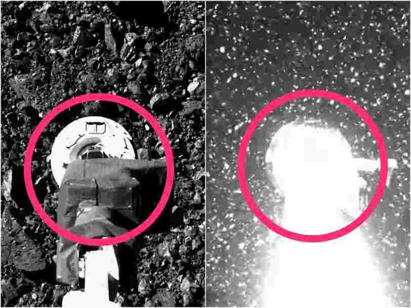 Cette vidéo montre la sonde Osiris-Rex prélevant un échantillon de l'astéroïde Bennu