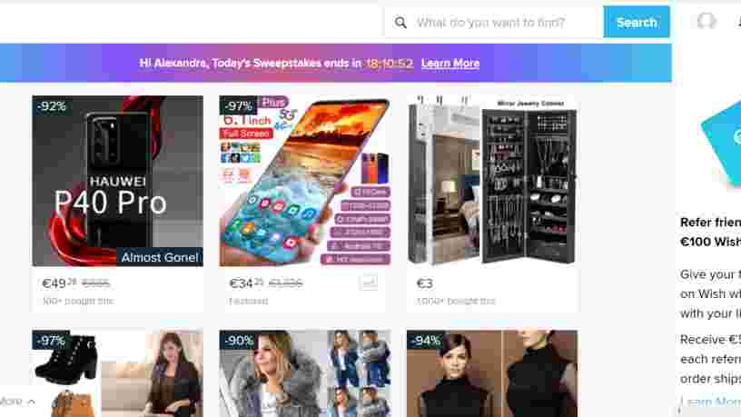 Le site de vente en ligne Wish épinglé pour 'pratiques commerciales trompeuses'