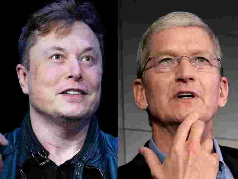 Elon Musk révèle avoir déjà contacté Tim Cook pour qu'Apple rachète Tesla