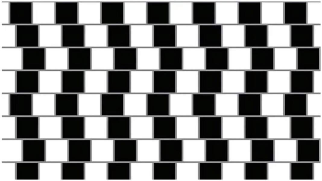 Ces lignes horizontales semblent être en pente, mais prenez une règle, et vous verrez qu'elles sont tout à fait droites !