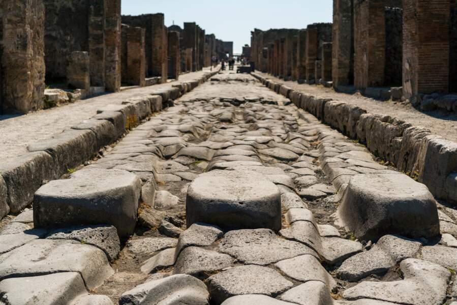 Une rue pavée de Pompéi