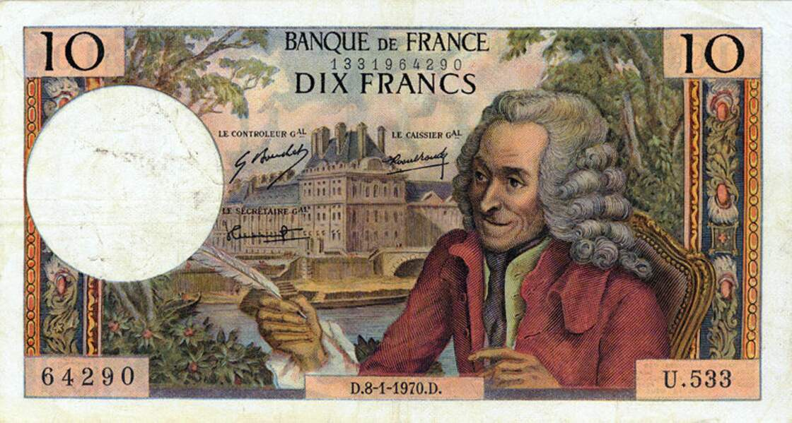 Les 10 francs pour Voltaire en 1963