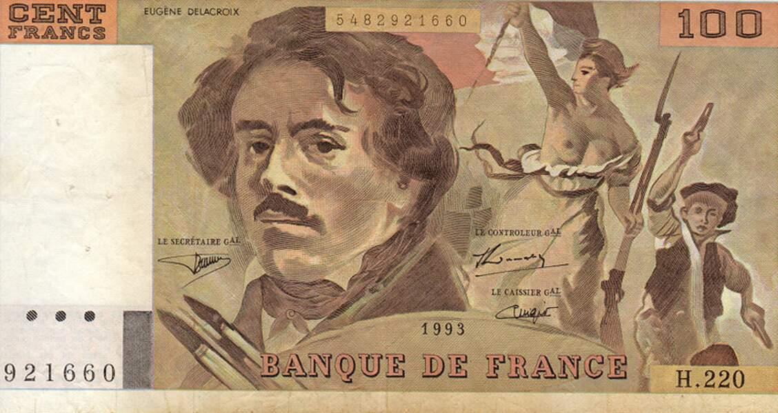 Les 100 francs pour Delacroix en 1978