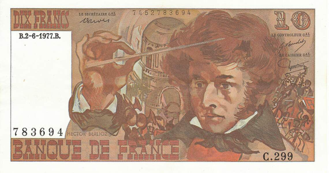 Les 10 francs pour Hector Berlioz en 1972