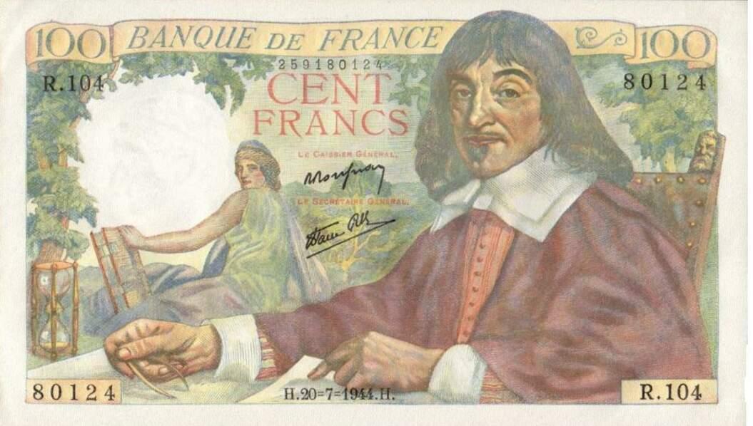 Les 100 francs pour Descartes en 1942