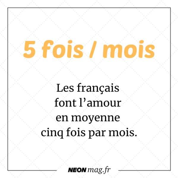 Les Français font l'amour en moyenne cinq fois par mois