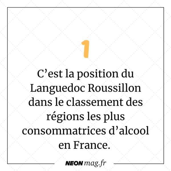Le Languedoc Roussillon est #1 dans le classement des régions les plus consommatrices d'alcool en France.