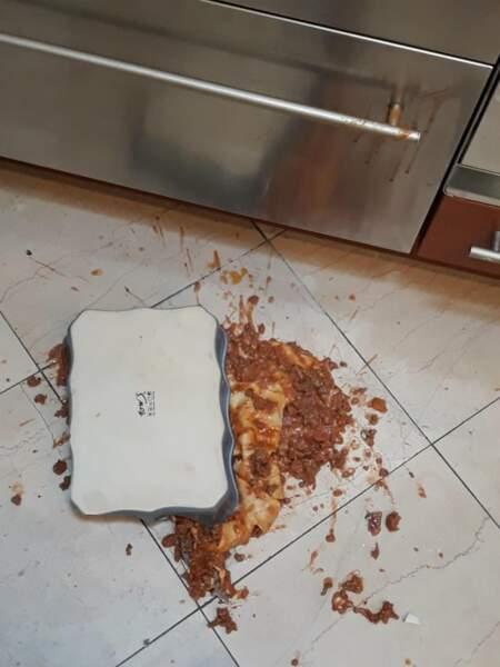 8. Elle a renversé son plat de lasagnes